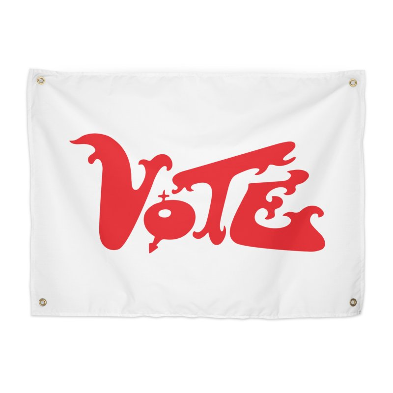 Vote Groovy (RED) Home Tapestry by RobBoyleArt's Artist Shop