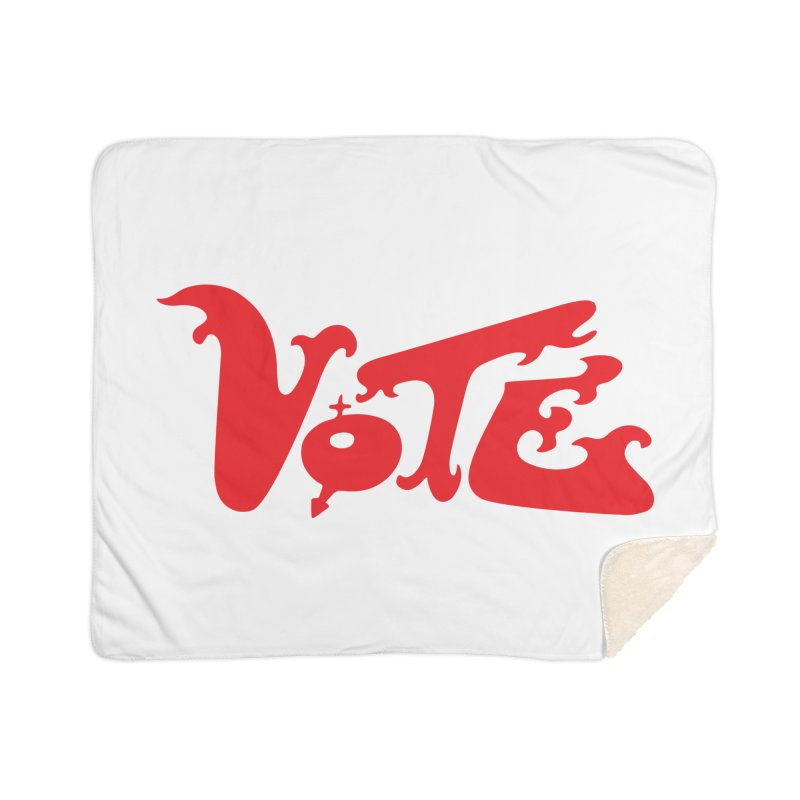 Vote Groovy (RED) Home Sherpa Blanket Blanket by RobBoyleArt's Artist Shop