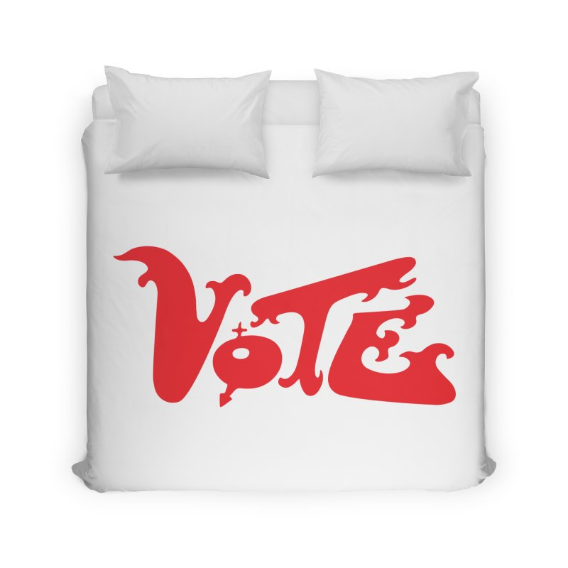 Vote Groovy (RED) Home Duvet by RobBoyleArt's Artist Shop