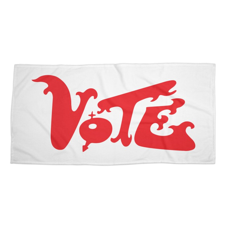 Vote Groovy (RED) Accessories Beach Towel by RobBoyleArt's Artist Shop