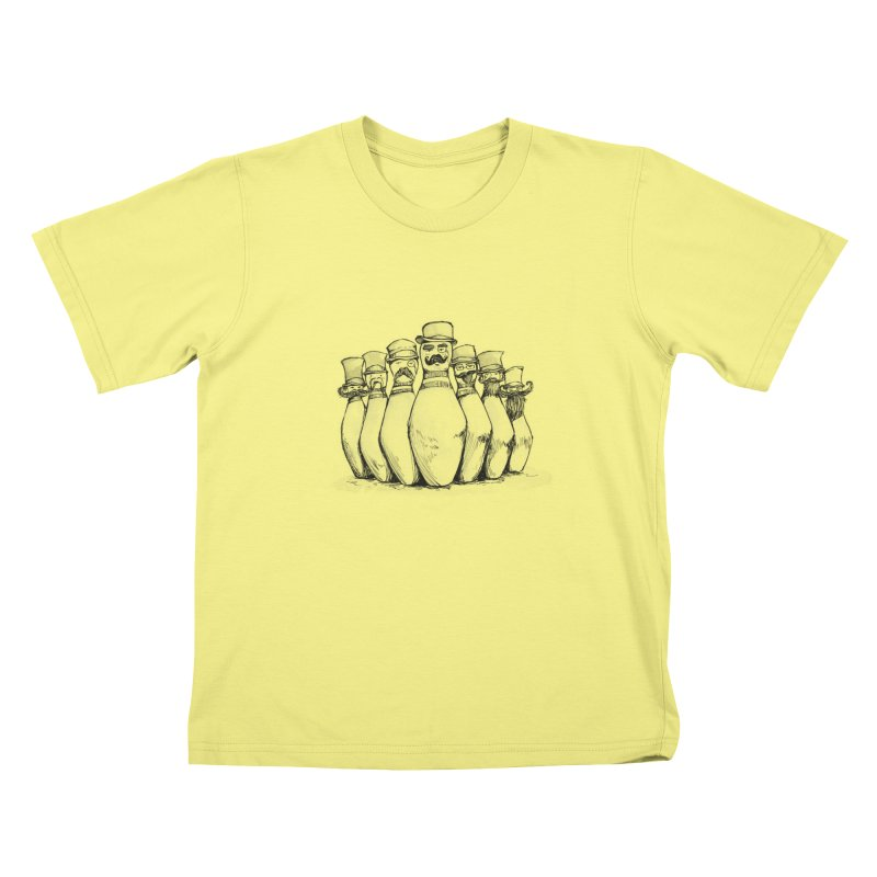 League of Incredibly Posh Bowling Pins Kids T-shirt by Robotjunkyard