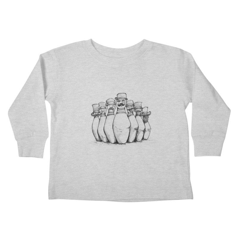League of Incredibly Posh Bowling Pins Kids Toddler Longsleeve T-Shirt by Robotjunkyard