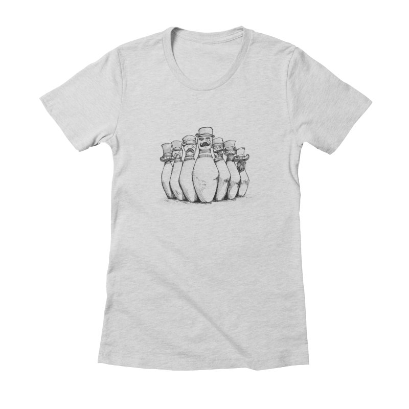 League of Incredibly Posh Bowling Pins Women's Fitted T-Shirt by Robotjunkyard