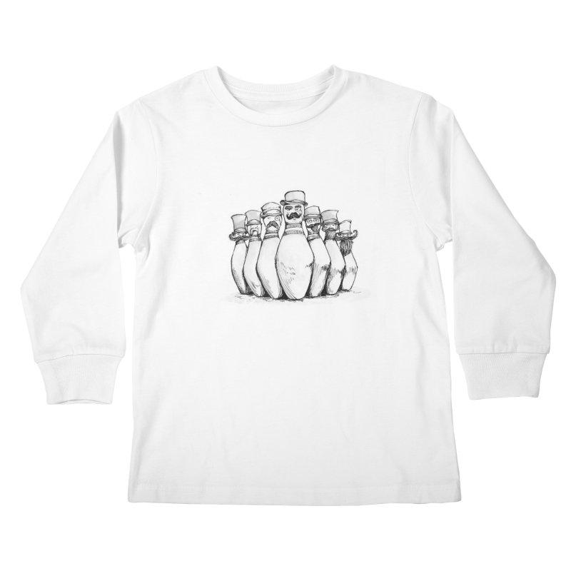 League of Incredibly Posh Bowling Pins Kids Longsleeve T-Shirt by Robotjunkyard