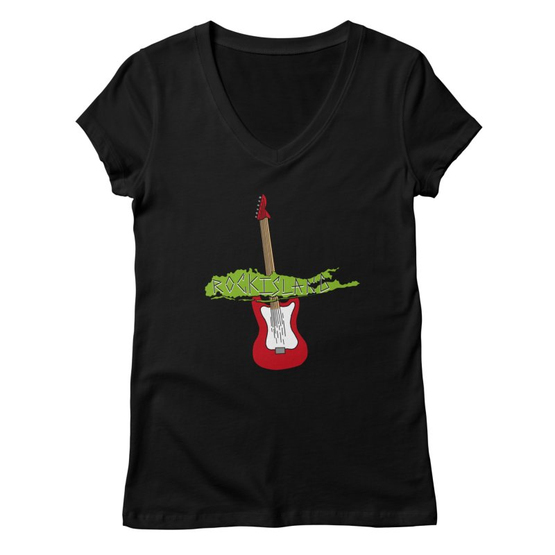 Rock Island Logo #1 Women's V-Neck by RockIsland's Artist Shop