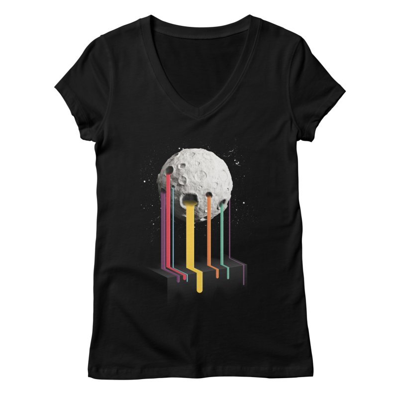 RainbowMoon Women's V-Neck by Rocket Artist Shop