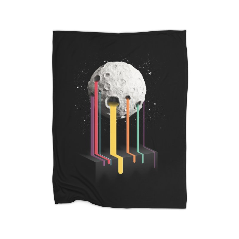 RainbowMoon Home Fleece Blanket by Rocket Artist Shop