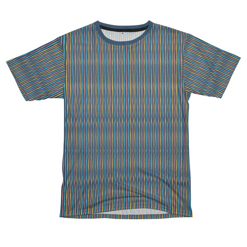 Stripped Men's French Terry T-Shirt Cut & Sew by Rocket Artist Shop