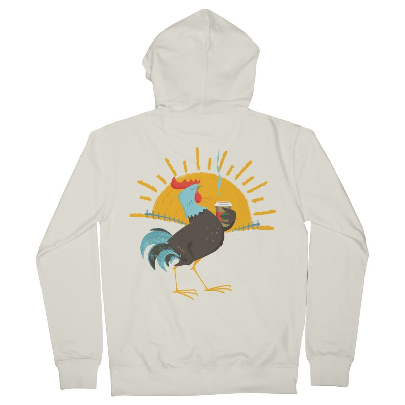 Goog Morning Men's French Terry Zip-Up Hoody by Rocket Artist Shop