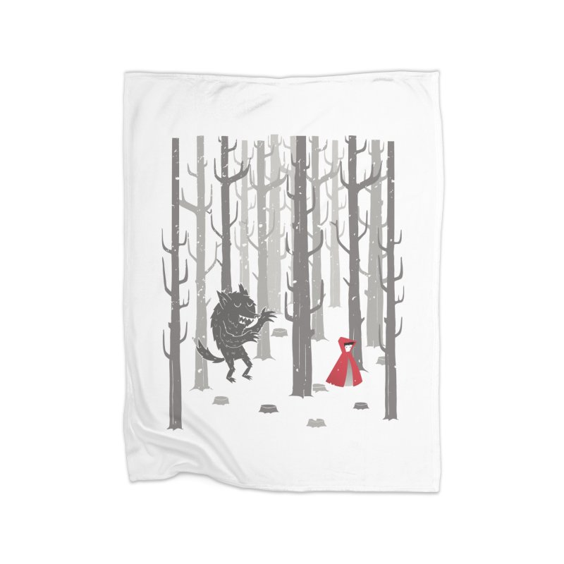 Beware of the wolf Home Fleece Blanket by Rocket Artist Shop