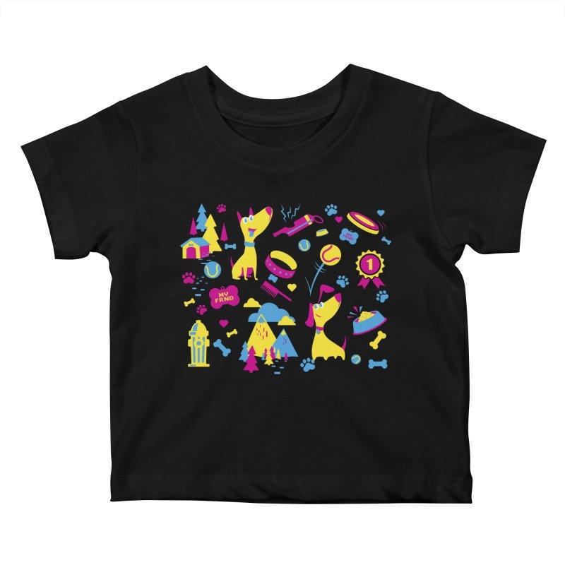 Dog Lover (cmyk) Kids Baby T-Shirt by Rocket Artist Shop