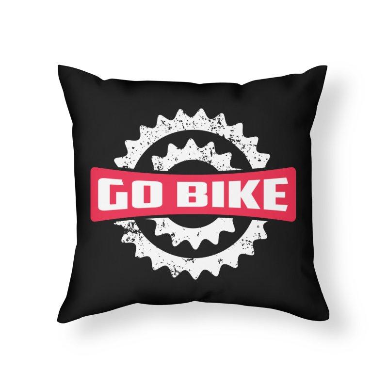 GO BIKE Home Throw Pillow by Rocket Artist Shop