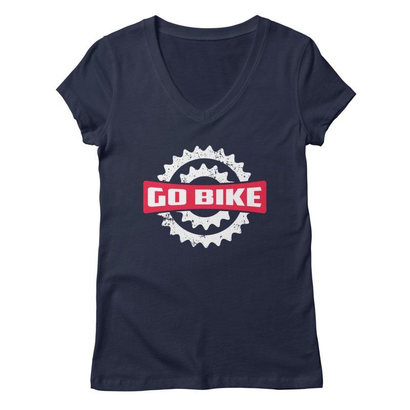 GO BIKE Women's V-Neck by Rocket Artist Shop