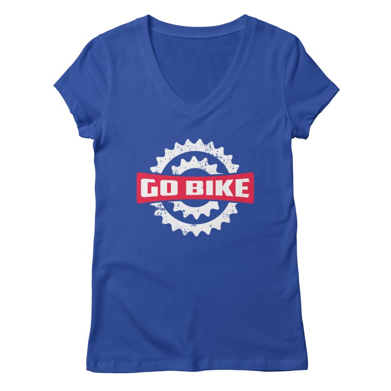 GO BIKE Women's V-Neck by Rocket Artist Shop