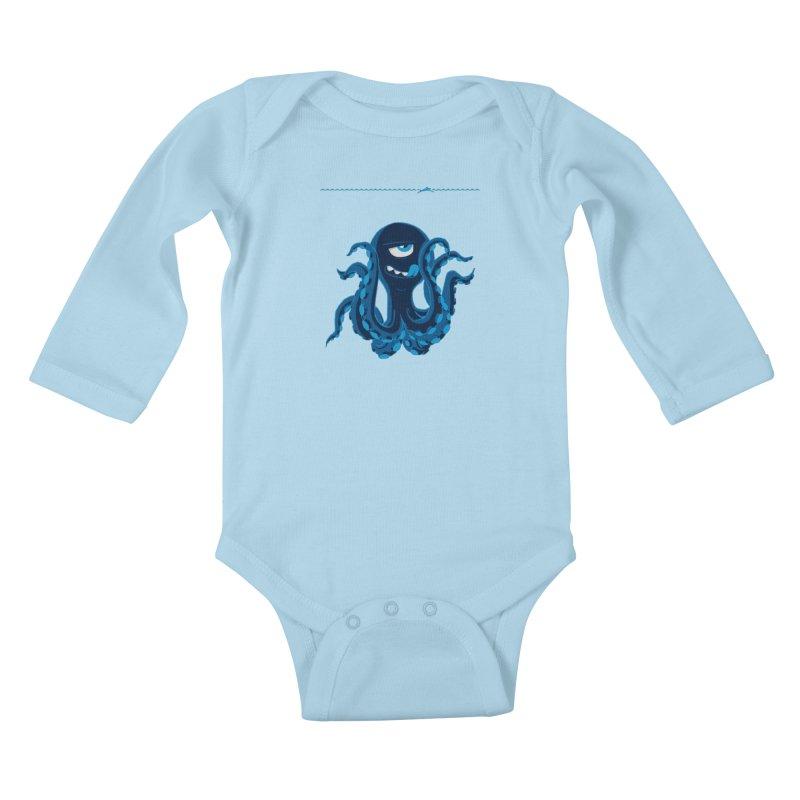 DEEP BLUE Kids Baby Longsleeve Bodysuit by Rocket Artist Shop