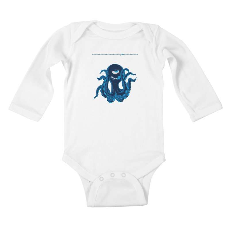 DEEP BLUE Kids Baby Longsleeve Bodysuit by Rocket Artist Shop