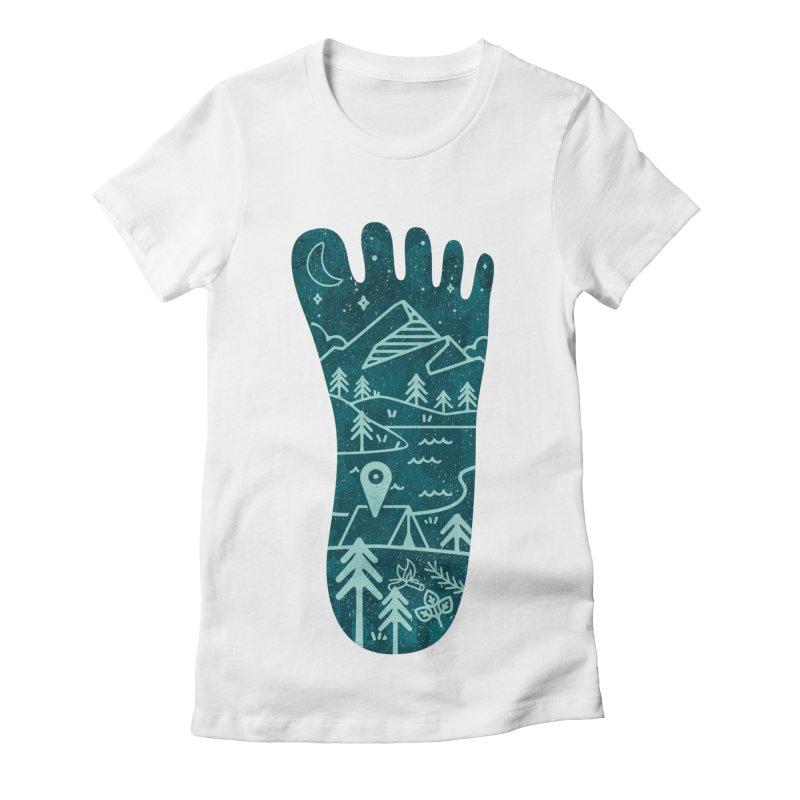 Keep Walking Women's Fitted T-Shirt by Rocket Artist Shop