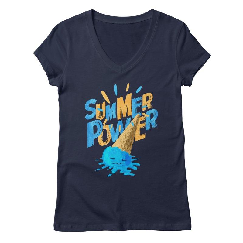Summer Power Women's Regular V-Neck by Rocket Artist Shop