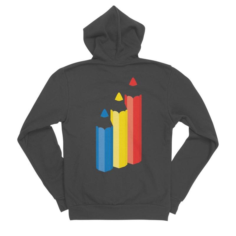 Primary Pencils Men's Sponge Fleece Zip-Up Hoody by Rocket Artist Shop