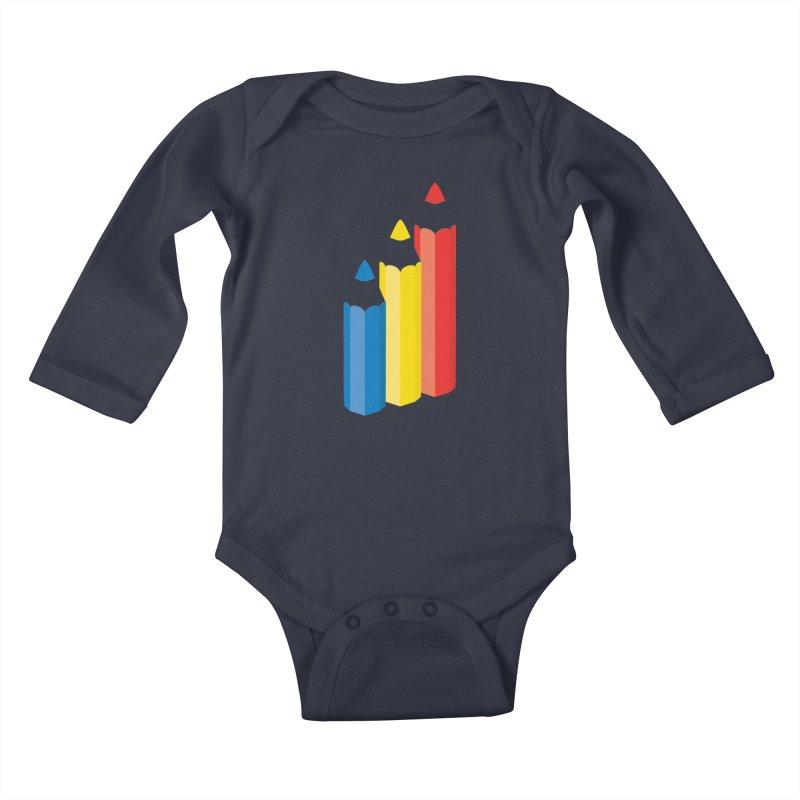 Primary Pencils Kids Baby Longsleeve Bodysuit by Rocket Artist Shop