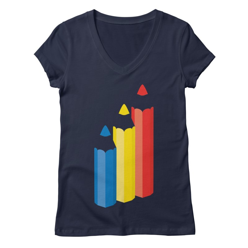 Primary Pencils Women's Regular V-Neck by Rocket Artist Shop