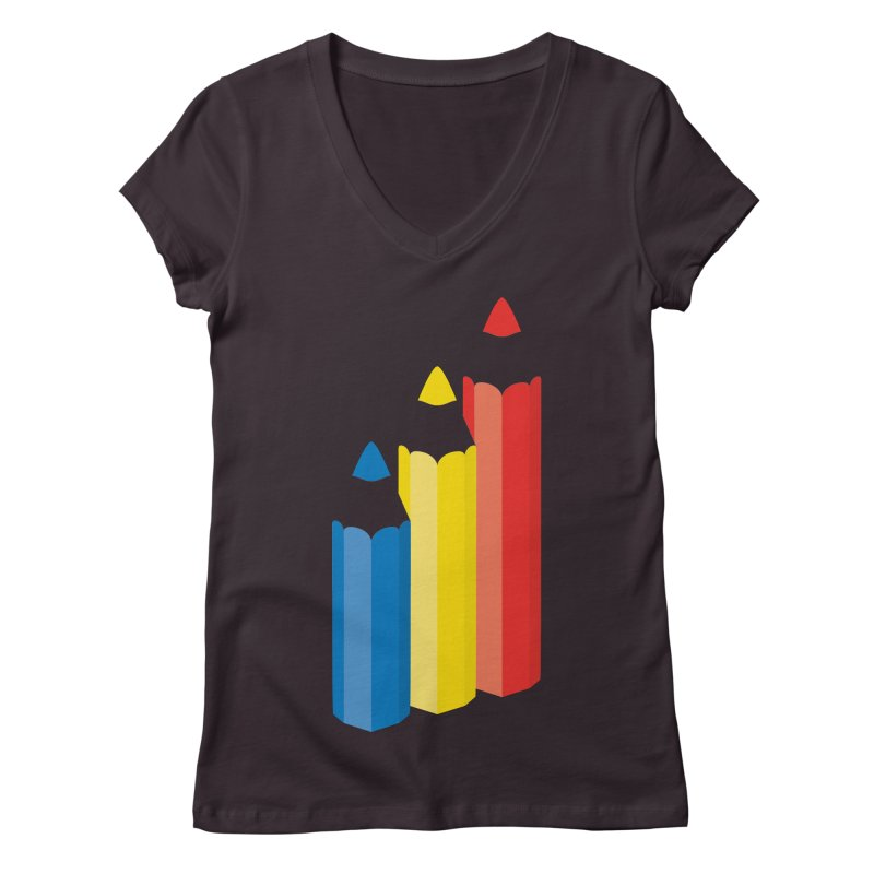 Primary Pencils Women's Regular V-Neck by Rocket Artist Shop