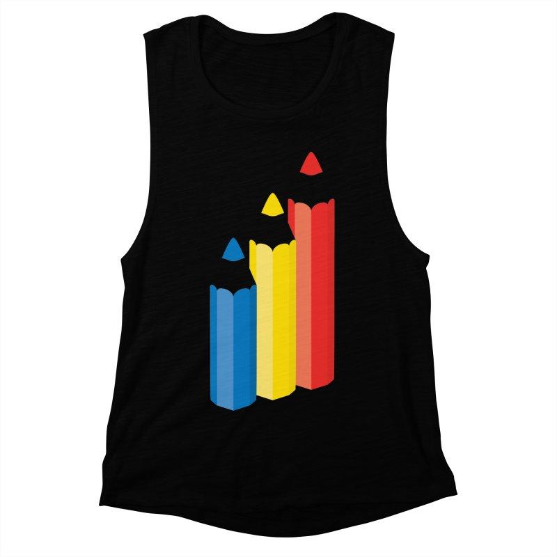Primary Pencils Women's Muscle Tank by Rocket Artist Shop