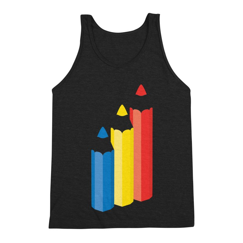 Primary Pencils Men's Triblend Tank by Rocket Artist Shop