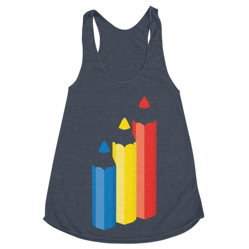 Primary Pencils Women's Racerback Triblend Tank by Rocket Artist Shop