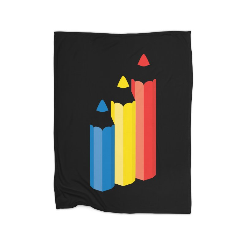 Primary Pencils Home Fleece Blanket Blanket by Rocket Artist Shop