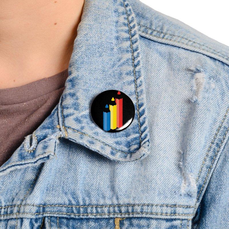 Primary Pencils Accessories Button by Rocket Artist Shop
