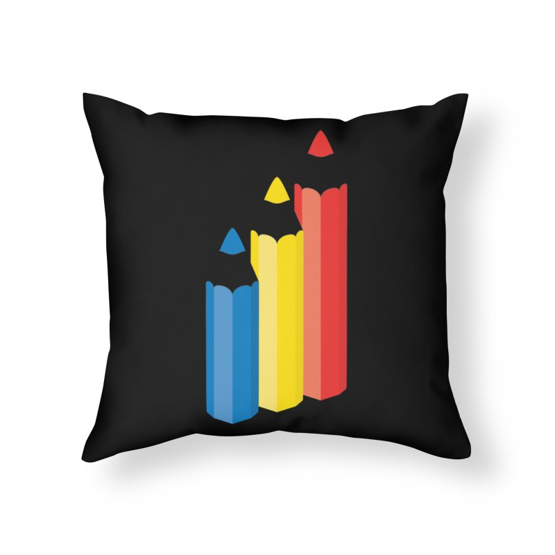 Primary Pencils Home Throw Pillow by Rocket Artist Shop