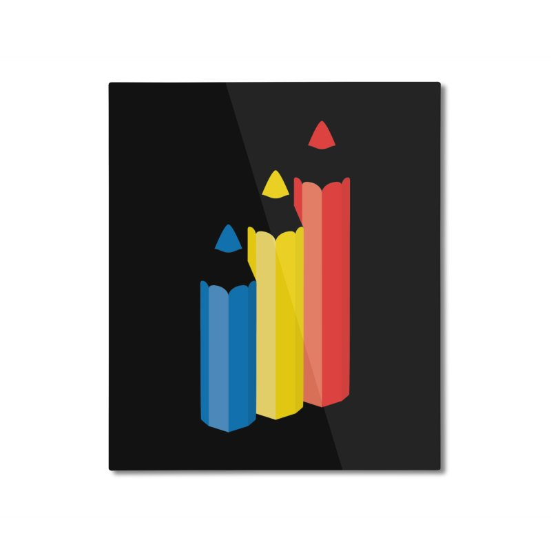 Primary Pencils Home Mounted Aluminum Print by Rocket Artist Shop