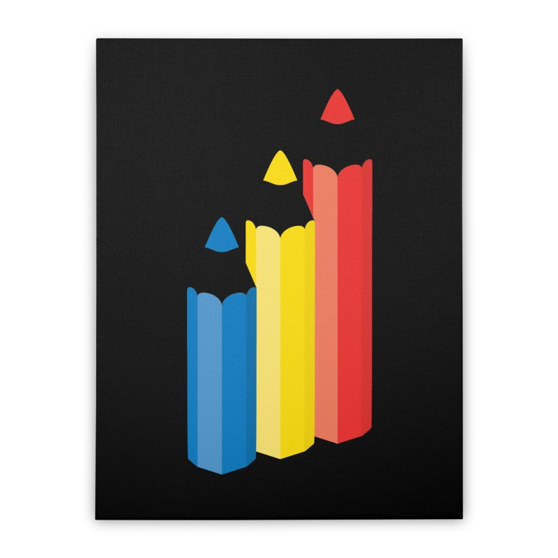 Primary Pencils Home Stretched Canvas by Rocket Artist Shop