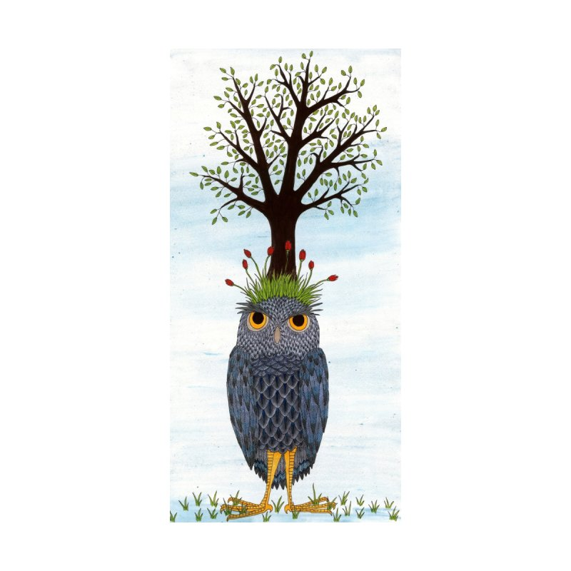 Owl with Red Flowers Men's T-Shirt by RockfishWildlifeSanctuary's Artist Shop