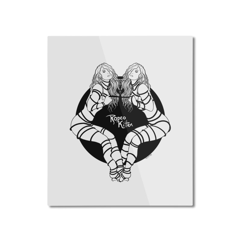 Seeing Double BW Home Mounted Aluminum Print by Rodeo Kitten's Swag Shop