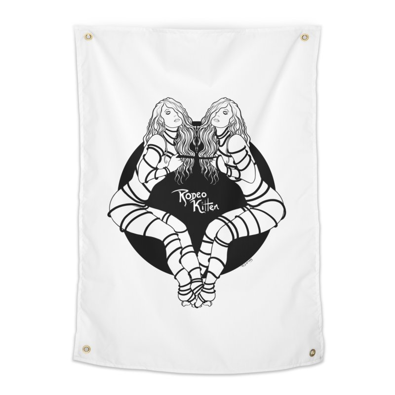 Seeing Double BW Home Tapestry by Rodeo Kitten's Swag Shop