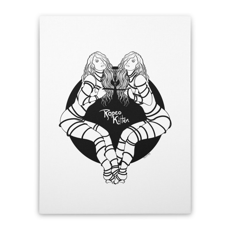 Seeing Double BW Home Stretched Canvas by Rodeo Kitten's Swag Shop