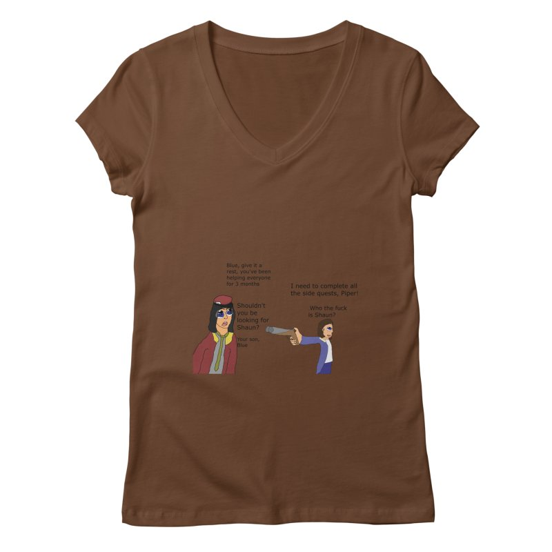 Side-Tracked (Fallout 4) Women's V-Neck by Roe's Shop
