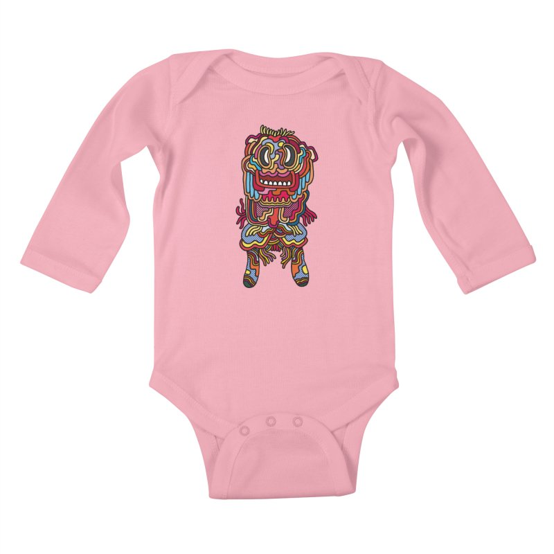 Olmeca Monster of the day (May 28) [Year 1] Kids Baby Longsleeve Bodysuit by Daily Monster Shop by Royal Glamsters