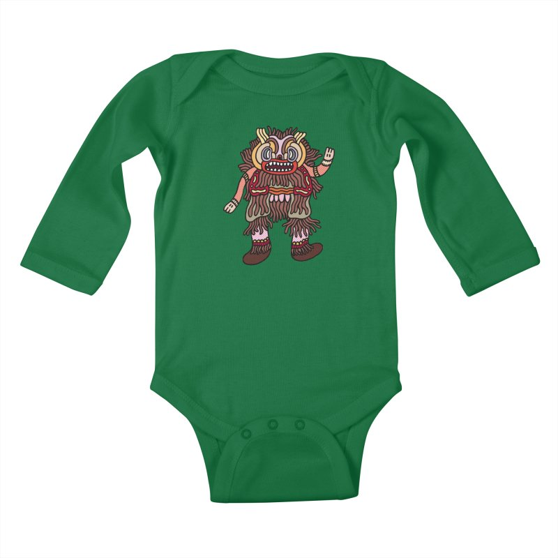 Olmeca Monster of the day (June 6) [Year 1] Kids Baby Longsleeve Bodysuit by Daily Monster Shop by Royal Glamsters