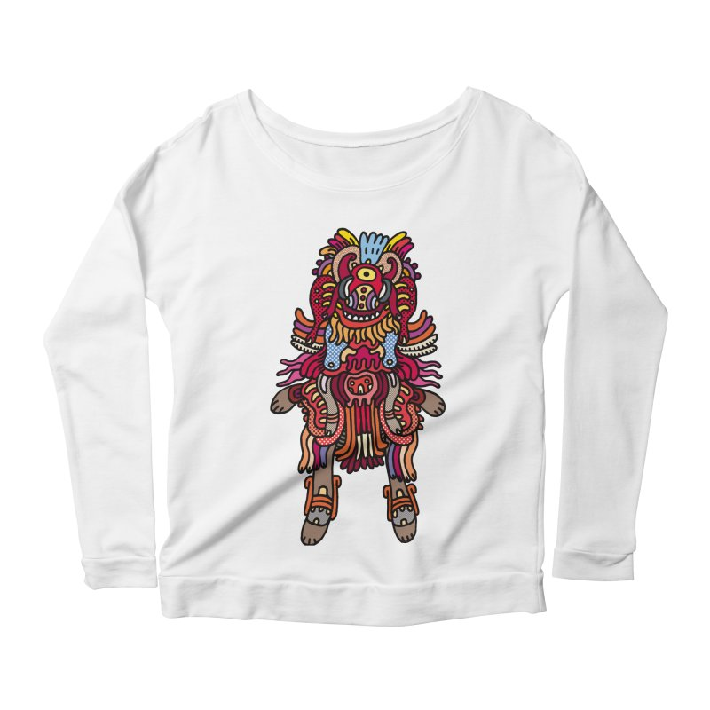 Olmeca Monster of the day (June 29) [Year 1] Women's Scoop Neck Longsleeve T-Shirt by Daily Monster Shop by Royal Glamsters