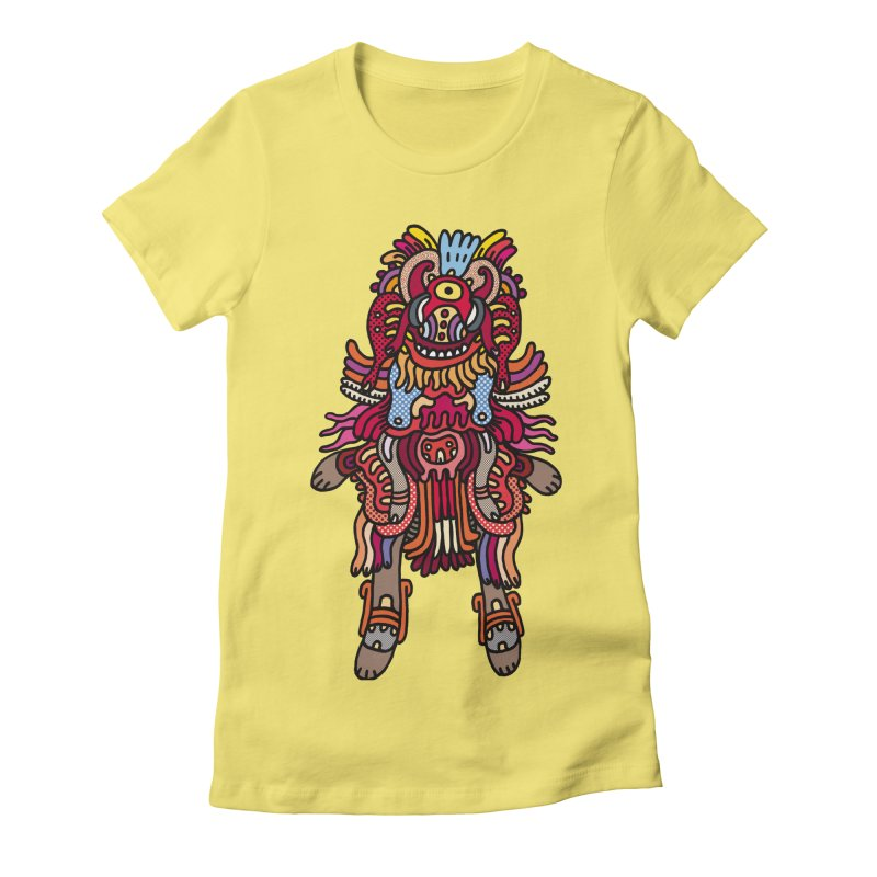 Olmeca Monster of the day (June 29) [Year 1] in Women's Fitted T-Shirt Light Yellow by Daily Monster Shop by Royal Glamsters