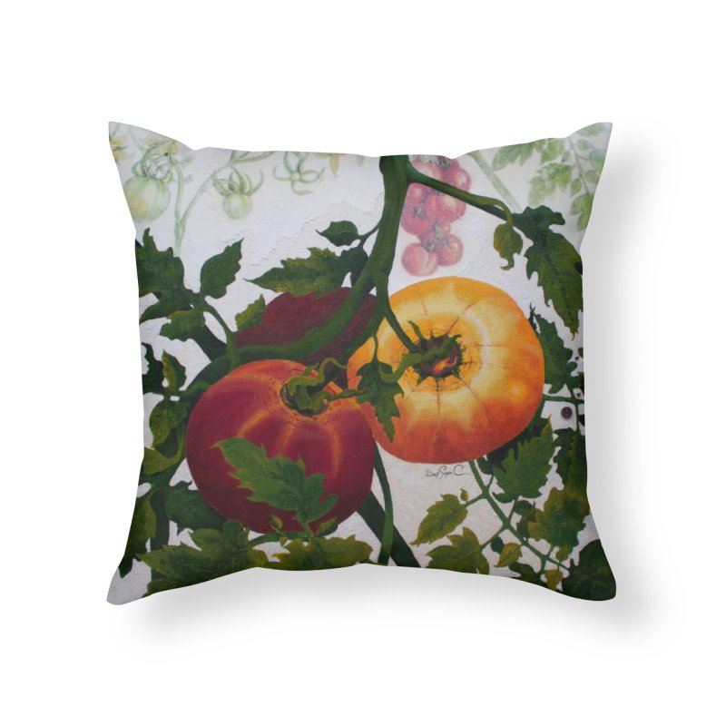 "Garden Goods ""You Say Tomato"" Home Throw Pillow by Ruby Charm Colors Artist Shop"