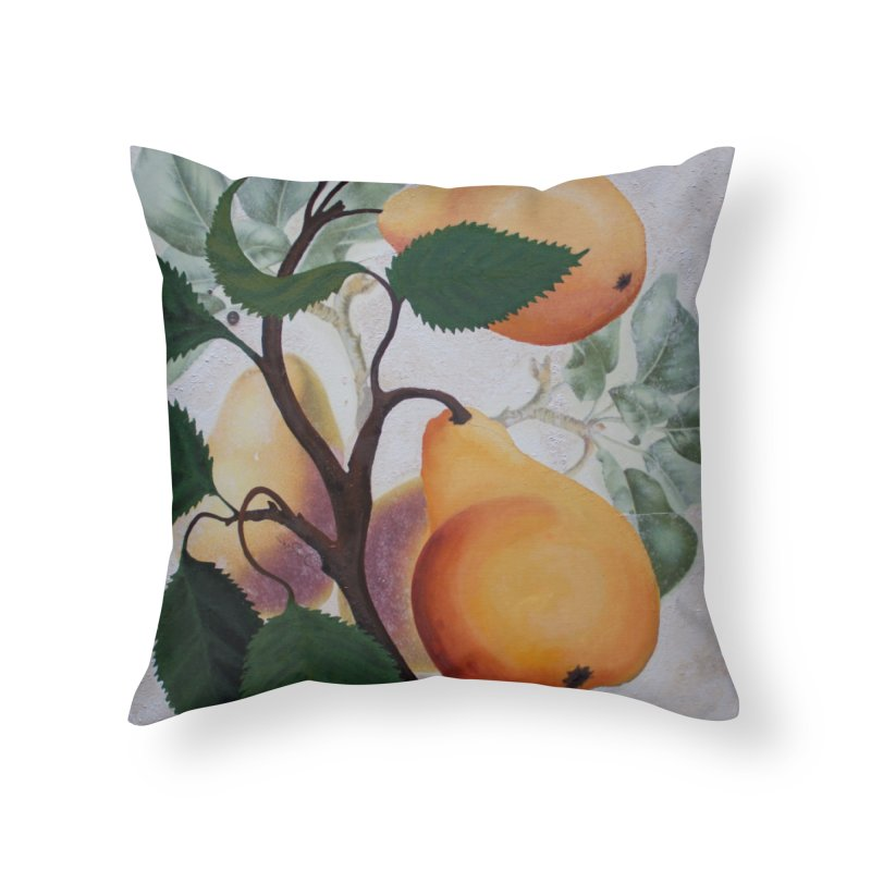 "Garden Goods ""Grow a Pear"" in Throw Pillow by Ruby Charm Colors Artist Shop"
