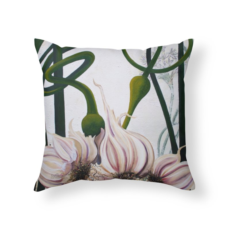 "Garden Goods ""Garlic Escapes"" in Throw Pillow by Ruby Charm Colors Artist Shop"