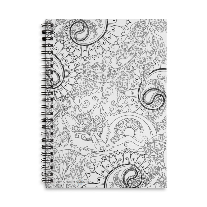 DIY Color Your Own Paisley Fox Spiral Notebook and Tote Bag in Lined Spiral Notebook by Ruby Charm Colors Artist Shop