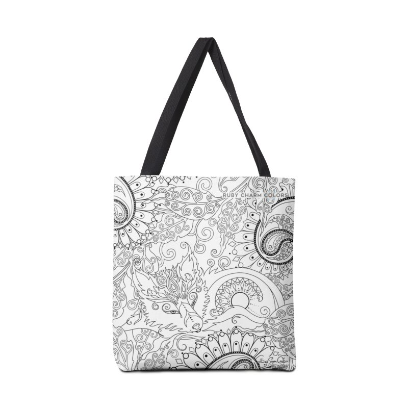 DIY Color Your Own Paisley Fox Spiral Notebook and Tote Bag in Tote Bag by Ruby Charm Colors Artist Shop