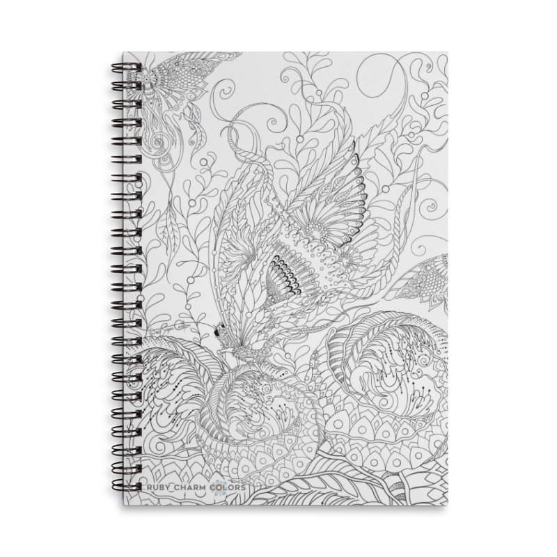 DIY Color Your Own Butterfly Spheres Spiral Notebook and Tote Bag Accessories Lined Spiral Notebook by Ruby Charm Colors Artist Shop