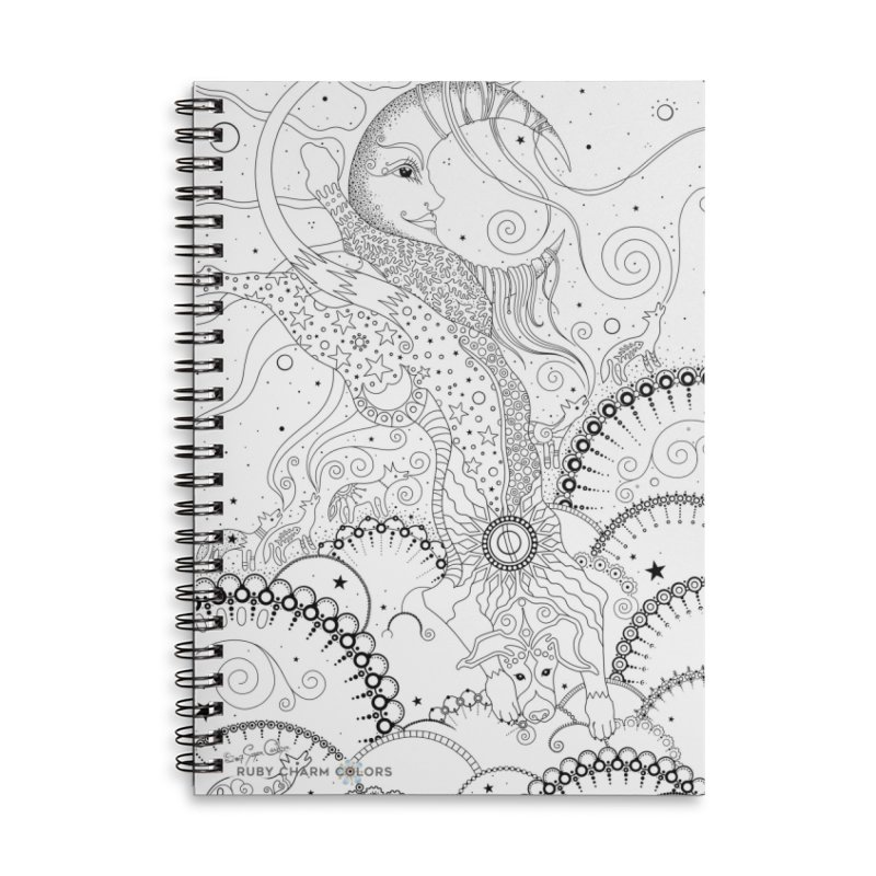 DIY Color Your Own Bo Dog and the Moon Spiral Notebook and Tote Bag Accessories Lined Spiral Notebook by Ruby Charm Colors Artist Shop
